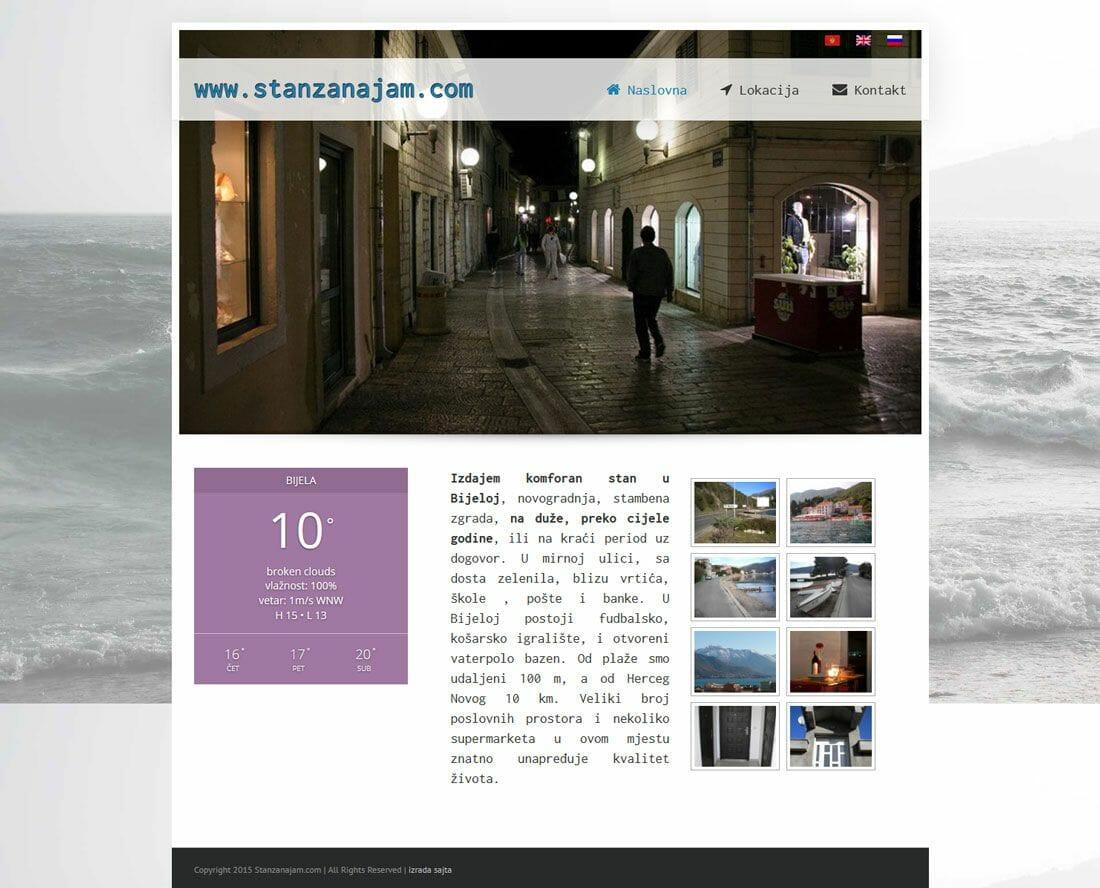 izrada sajta za izdavanje stana na moru