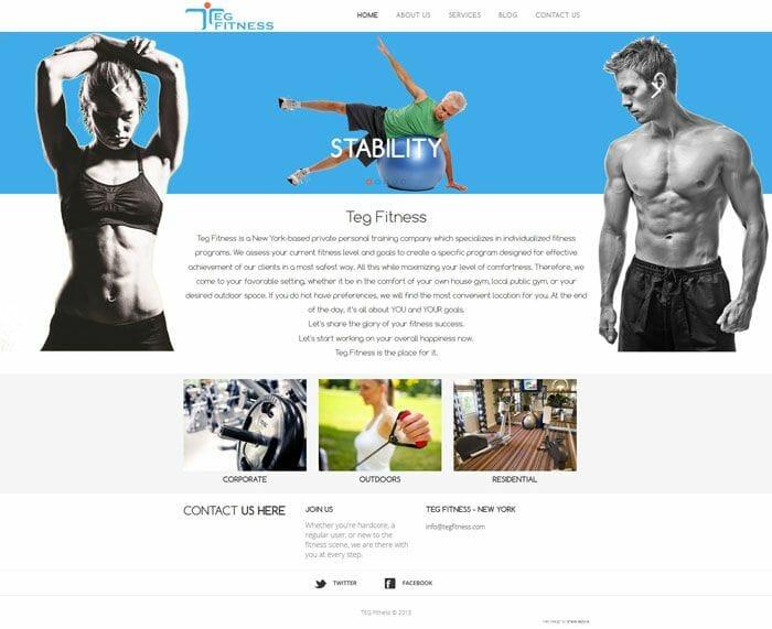 izrada sajta za fitnes trenera