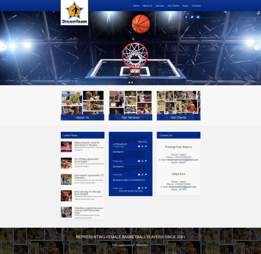 izrada sajta za kosarkaskog menadzera
