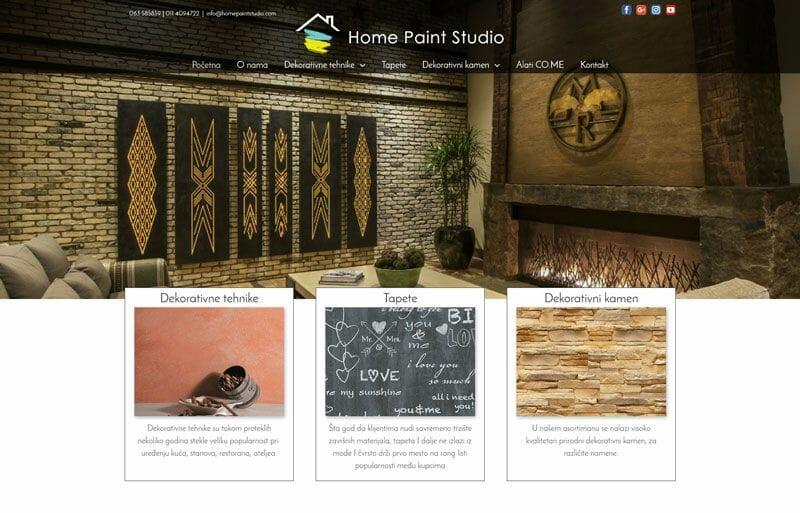 izrada sajta za home paint studio dekorativne tehnike