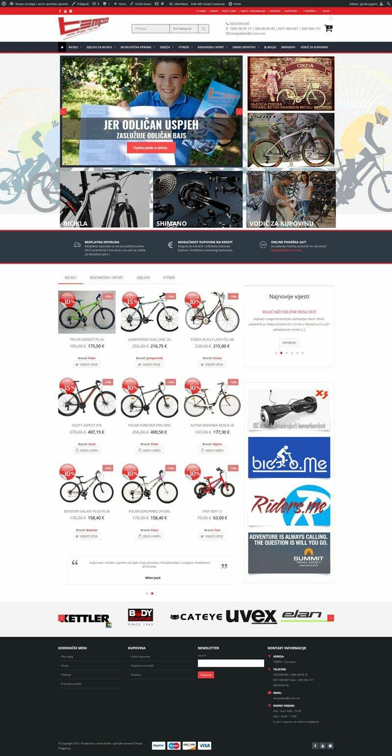 izrada online prodavnice za prodaju fitnes opreme i bicikli