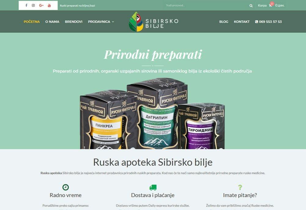 izrada sajta za sibirsko bilje
