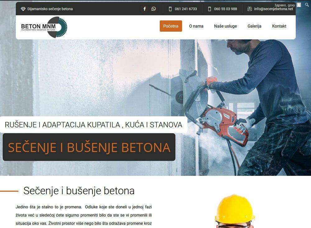izrada sajta za dijamantsko secenje betona