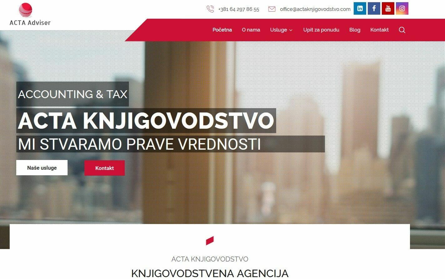 knjigovodstvena agencija acta knjigovodstvo