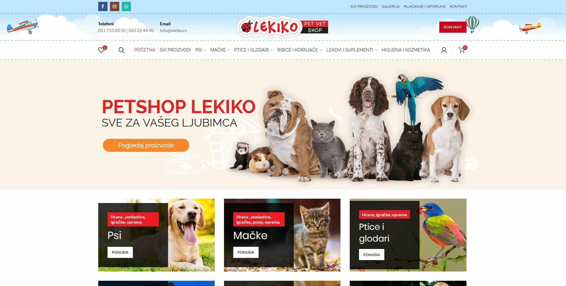 izrada sajta za pet shop