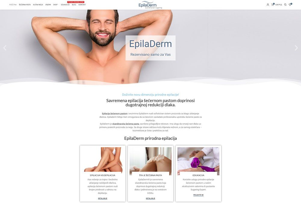 izrada sajta epiladerm secerna pasta